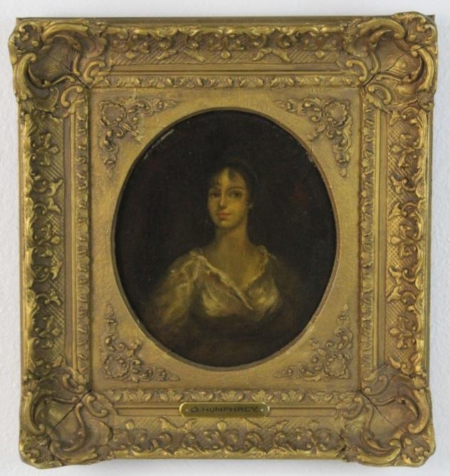 Antique Ozias Humphry Lady Portrait Oil Painting