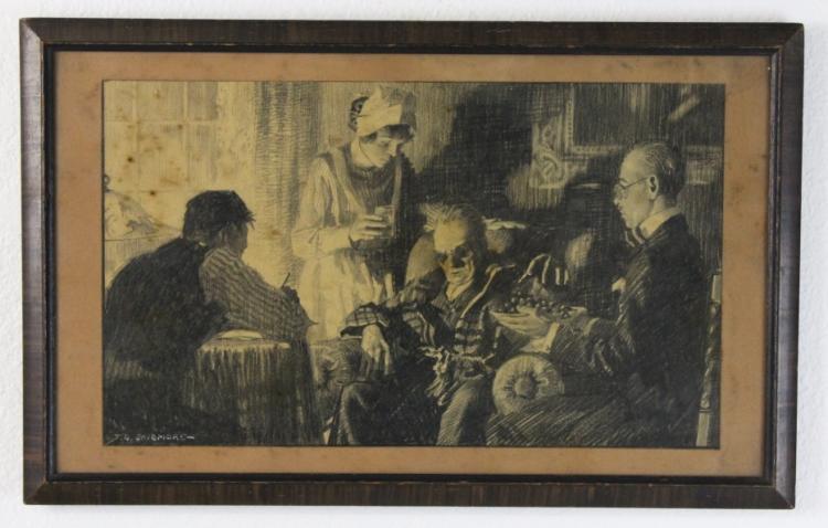 Signed Thornton Skidmore Old Man Illustration Original Art Drawing