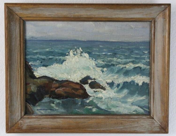 Signed William Lester Stevens Coastal Seascape Painting