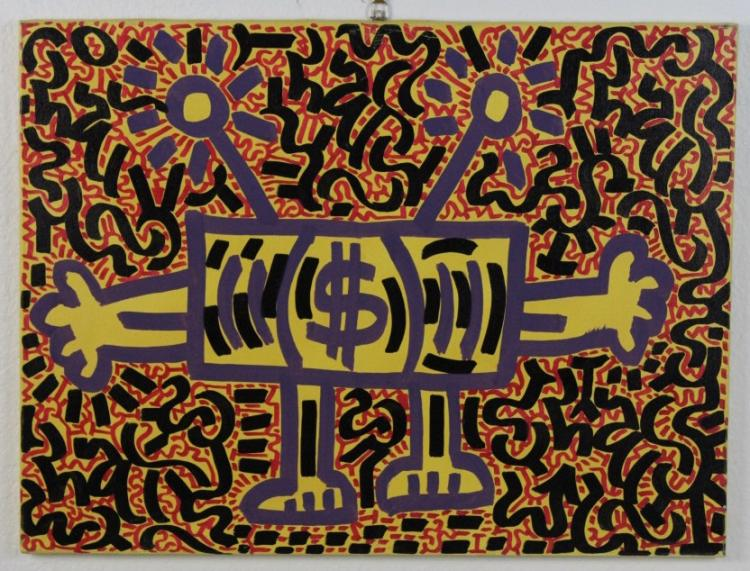 Signed L.A. II Angel Oritz Paid Programming Graffiti Painting Collaborator Keith Haring