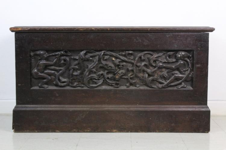 Antique 15c Gothic Carved Black Walnut Chest from The Bass Museum