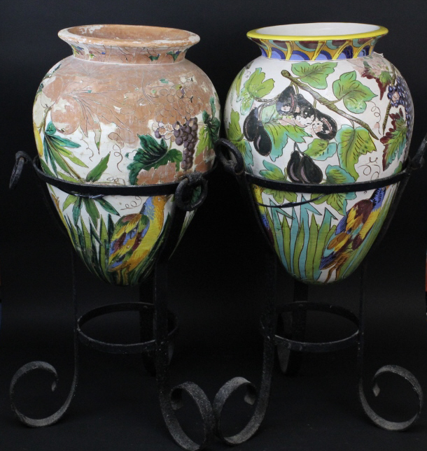 Large Pr Of Italian Majolica Pottery Pots w/ Stand from The Bass Museum
