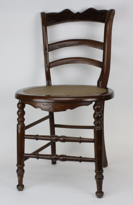 19c Haitian Colonial Carved Wood Cane Seat Chair from The Bass Museum