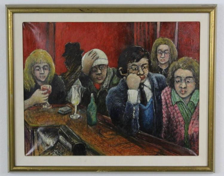 Signed David Azuz The Lost Drink Israel Oil Painting 1975