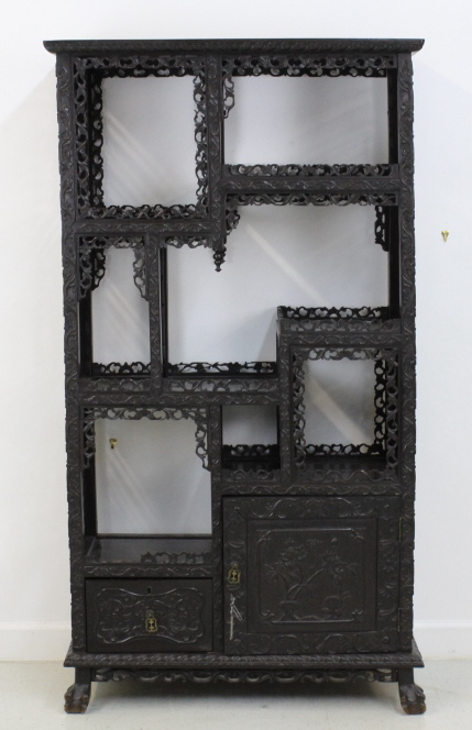Antique Chinese Carved Zitan Wood Curio Cabinet