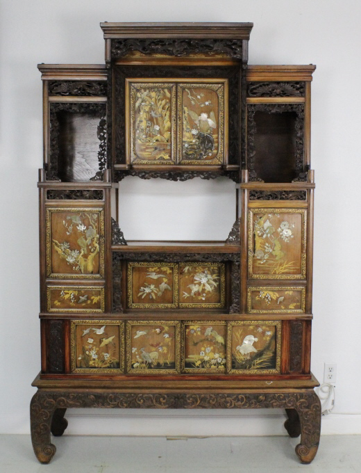 Ornate Antique Japanese Inlaid Display Cabinet