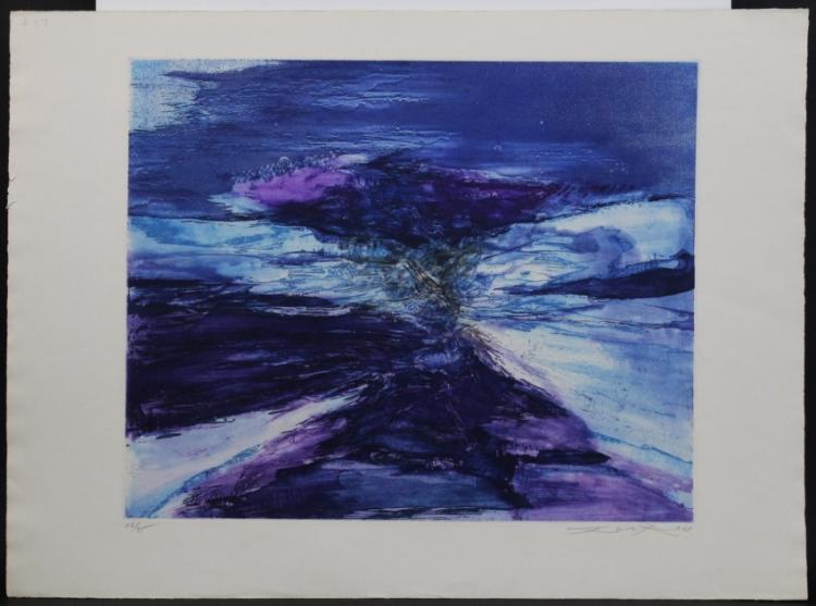 Pencil Signed Limited Edition Zao Wou-Ki Color Lithograph Print Litho from The Bass Museum