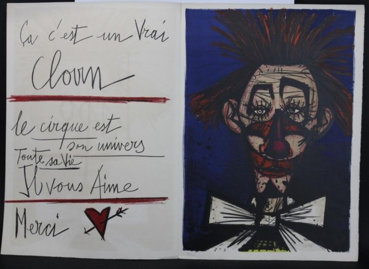 Limited Edition Bernard Buffet PIPO Clown Litho Lithograph from The Bass Museum