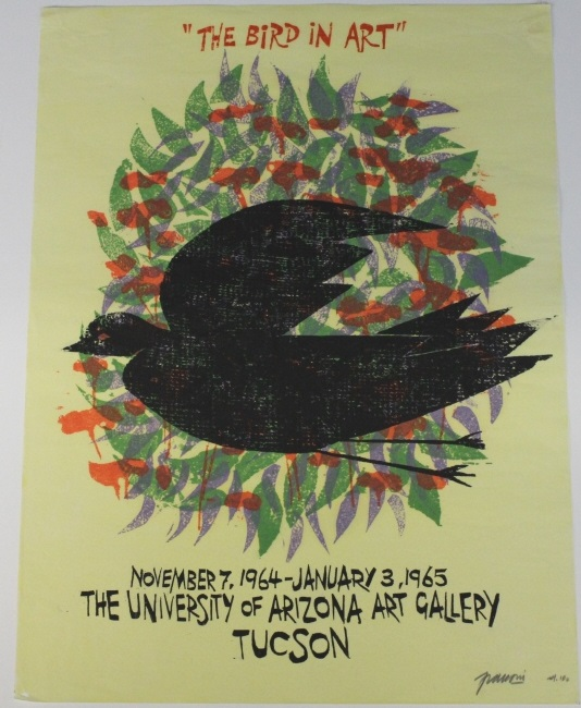 Signed Antonio Frasconi Bird Art Woodblock Print from The Bass Museum