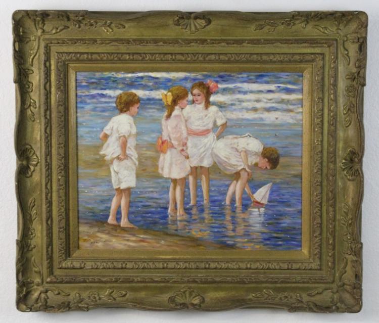 EJ Cygne French Impressionist Oil Painting Enfants