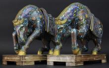 Pair of Large Antique Chinese Cloisonne Enamel 14