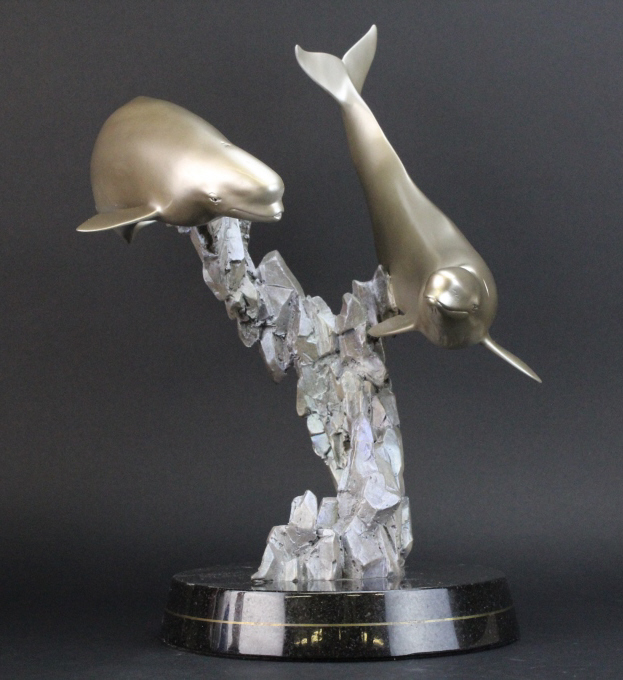 Signed Robert Wyland LIMITED EDITION Beluga Whale L/E Bronze Sculpture
