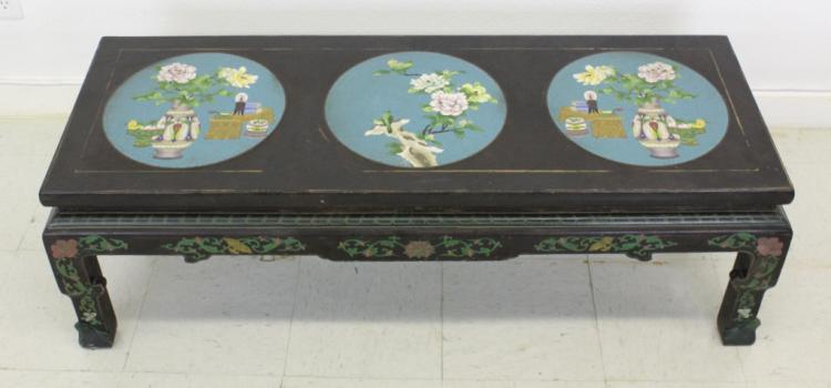 Chinese Export Black Lacquer Cloisonne Low Table
