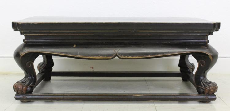 Chinese Export Black Lacquer Wood Low Altar Table
