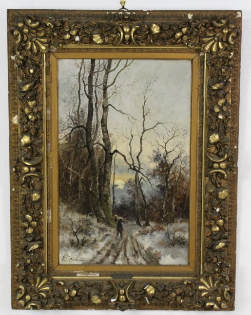Signed Gertrud Steinbach Snowy Landscape Oil on Canvas Painting LISTED