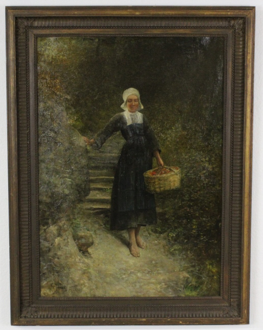 Signed Gustave Adolphe Jundt (1880-1884) French Maiden Oil Painting