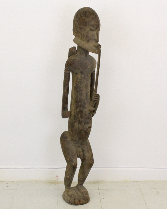 19c Mali African Carved Wood Man Smoking Statue