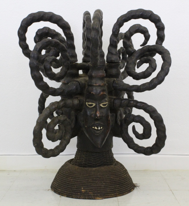 Ekoi Nigeria African Four Face Headdress Sculpture