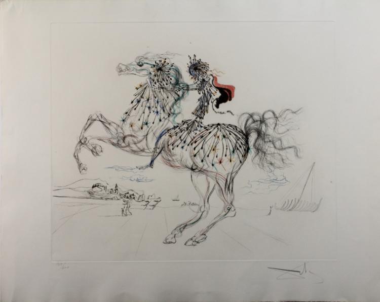 Pencil Signed Salvador Dali Transparent Horse LE Colored Etching