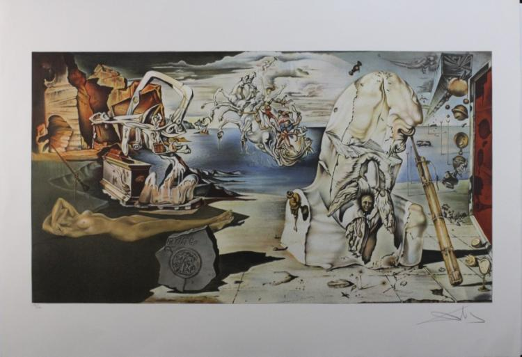 Pencil Signed Salvador Dali Surrealist Lands L/E S/N Litho Print Lithograph