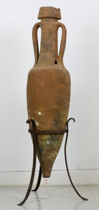 Ancient Roman Greek Amphora Pottery Vase w Stand