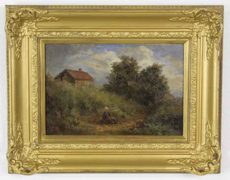 Antique J. Thomas English Landscape Oil Painting
