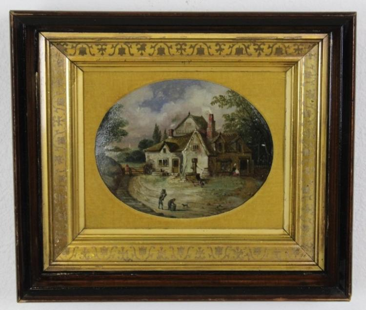 Antique JHH Oval Farmhouse Landscape Oil Painting