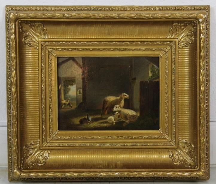 Julius Scheuerer Sheep Family in Barn Oil Painting