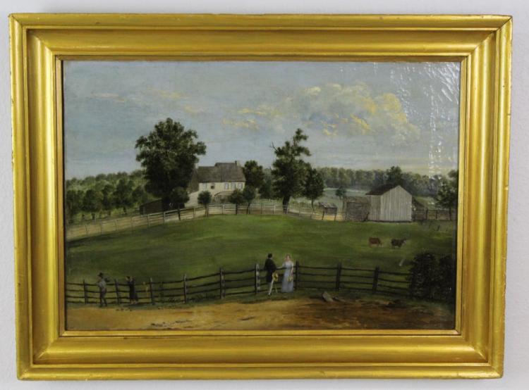 19c American Folk Art Primitive Landscape Painting