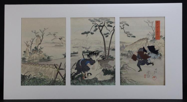 Antique Japanese Triptych Scene Wood Block Print