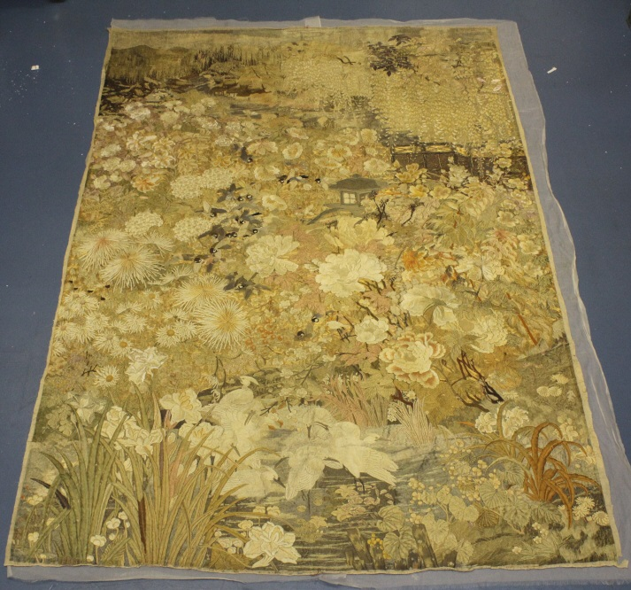 Antique Japanese Embroidered Silk Scenic Tapestry Panel Museum Quality