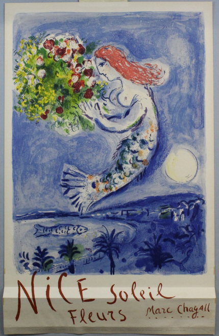 Marc Chagall Nice Soleil Fleurs Travel Poster from The Bass Museum