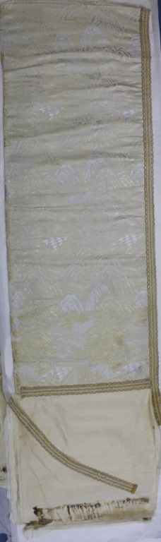 Pair of Asian Silver Gold Fabric Panels from Morris Lapidus Estate
