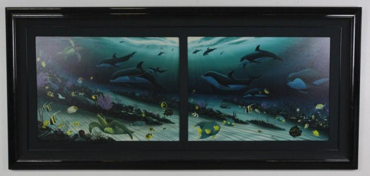 LARGE Signed Robert Wyland LE 103/750 Coral Reef Seascape Double Art Giclee