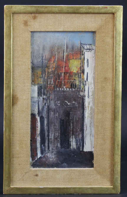 Signed William Thon (1906-2000) New York Abstract Parisian Street Scene Oil Painting