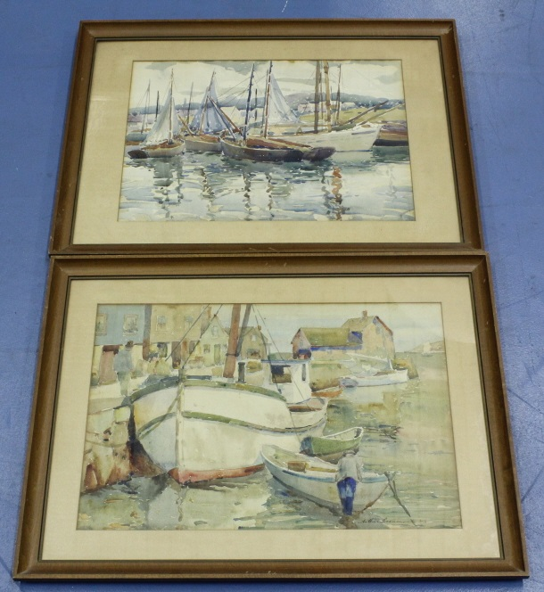 Pair Arthur Beaumont Harbor Watercolor Paintings