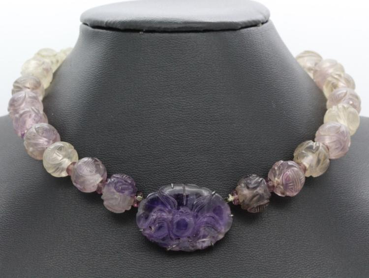 Chinese Export Carved Amethyst Silver Necklace