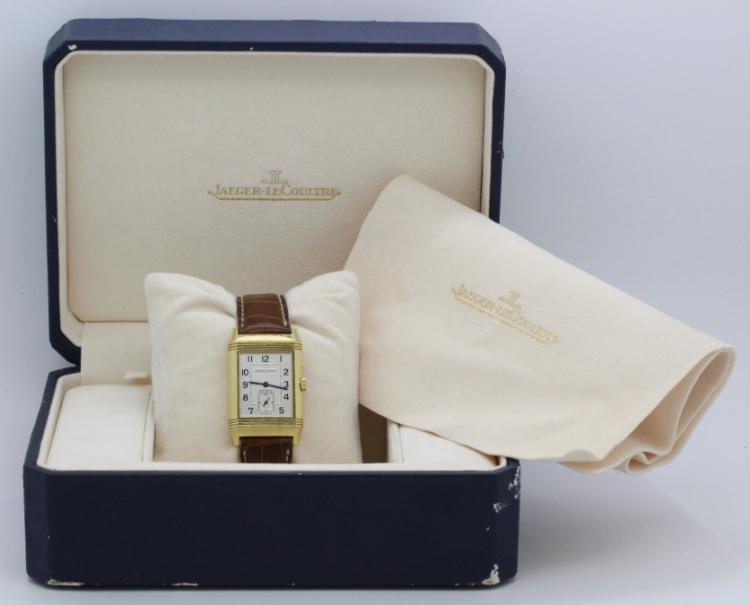Authentic Jaeger LeCoultre 18k 750 Yellow Gold Reverso Night & Day Wrist Watch
