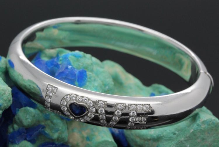 Authentic CHOPARD 18k 750 White Gold Diamond & Sapphire LOVE Bracelet