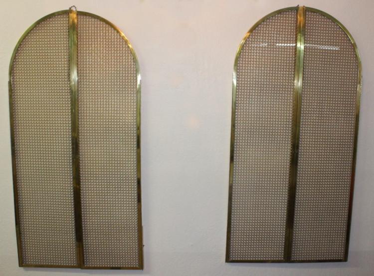 2 Pair of Lapidus Designed Gold Cabinet Doors from Morris Lapidus Estate