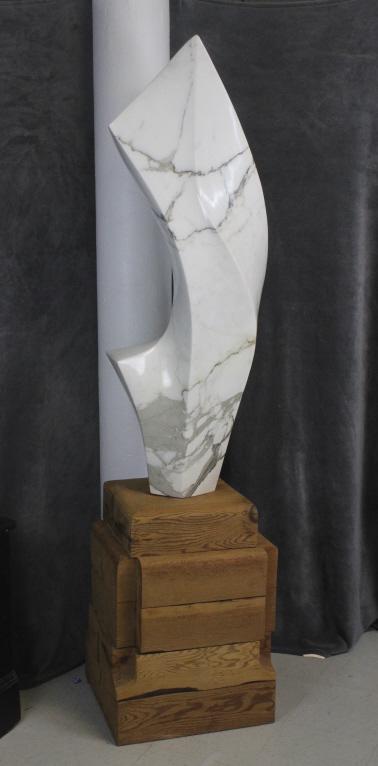 Signed Henry Moretti Modernist White Marble Mid Century Modern Sculpture