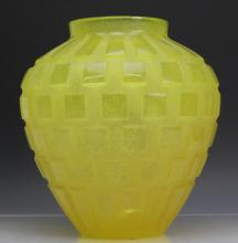 Signed DAUM French Yellow Glass Pate De Verre Vase