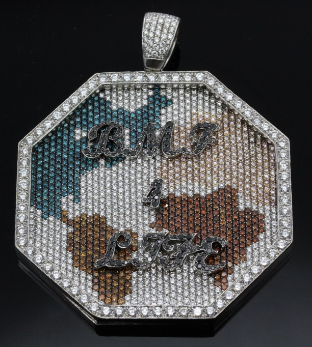 Jacob & Co 14k Gold 15 CTTW Diamond Globe Pendant (133 grams) from Rapper Rick Ross