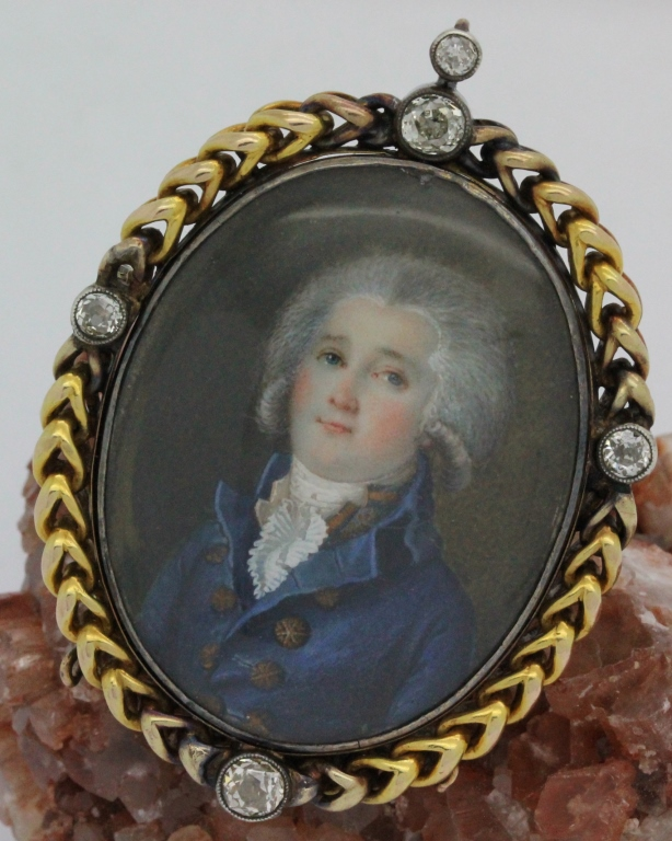 Antique Georgian Russian 14K Gold Diamond Miniature Portrait Brooch