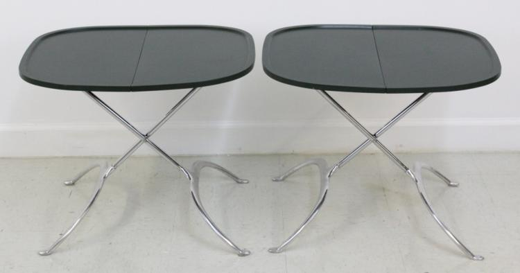 Pair of Leopoldo Modern Chrome Folding Tables by Antonio Citterio