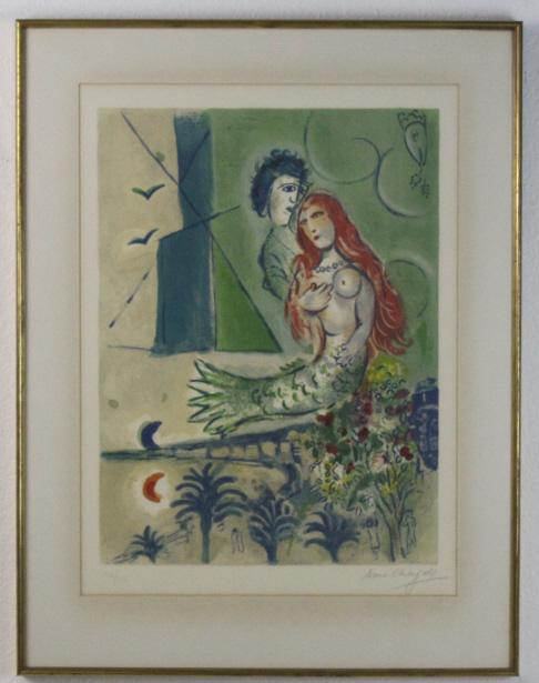 RARE Pencil Signed Marc Chagall Sirene au Poete Litho Print Lithograph
