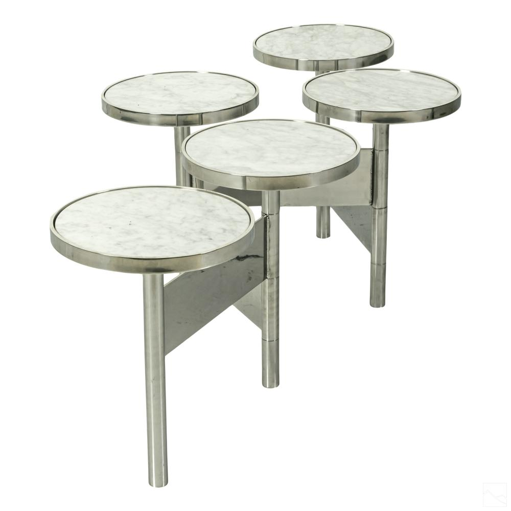 Modernist Marshmallow Marble & Chrome Coffee Table