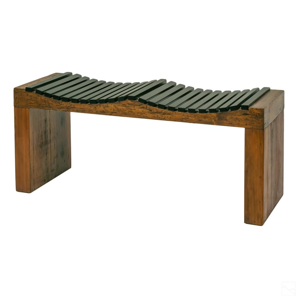 Modernist Slat Wooden Bench style George Nelson