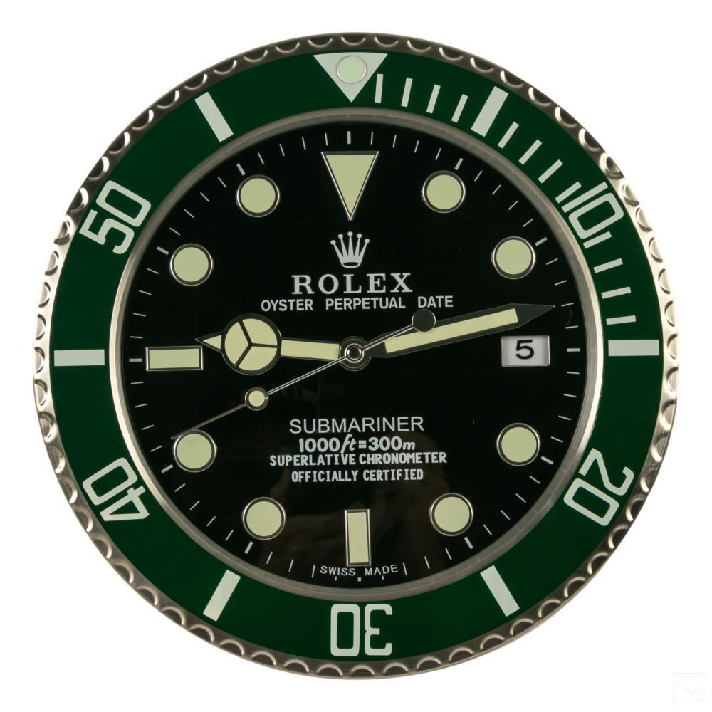 Rolex Style The Hulk Submariner Dealers Wall Clock