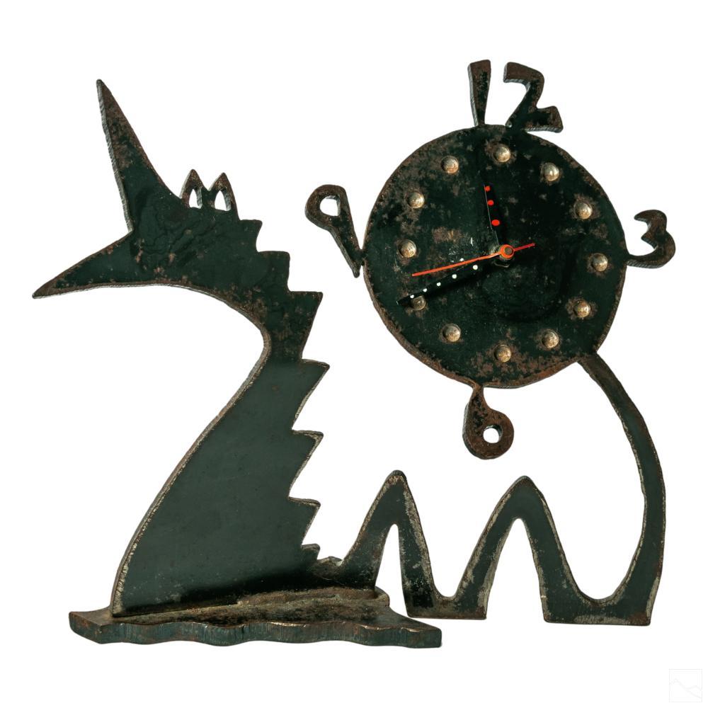 Mark Indursky Figural Iron Dragon Mantle Clock